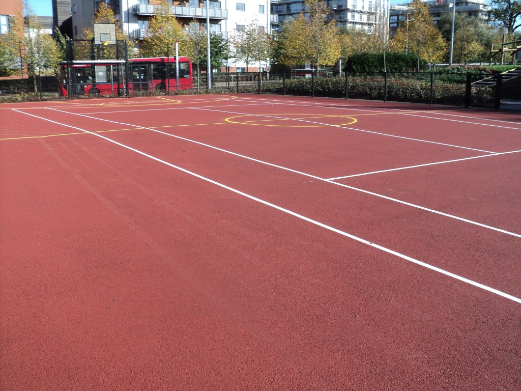 Ball Court Marking Line Painting Park Royal London - Portsmouth Hampshire Surrey Sussex Polymeric Colour Coatings Sports Halls Playgrounds