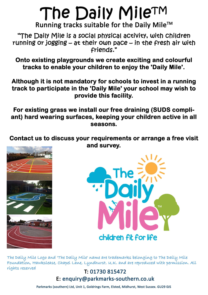 The Daily Mile Running Tracks Court Marking Line Painting Portsmouth Hampshire Surrey Sussex Car Parks Polymeric Colour Coatings Playgrounds