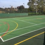 Ball Court Lewisham London - Court Marking Line Painting - Portsmouth Hampshire Surrey Sussex Car Parks Polymeric Colour Coatings Sports Halls Playgrounds