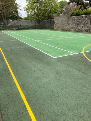Ball Court Chichester West Sussex Line Marking Painting Portsmouth Hampshire Surrey Sussex Car Parks Polymeric Colour Coatings Sports Halls Playgrounds