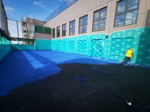 Polymeric Coating Croydon Ball Court Marking Painting Hampshire Surrey Sussex Car Parks Polymeric Colour Coatings Sports Halls Playgrounds